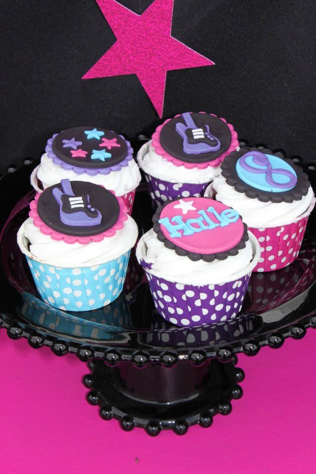 Rock Star Birthday Cake Rockstar Birthday Party Cupcakes Rock Star Girl Cupcake Toppers