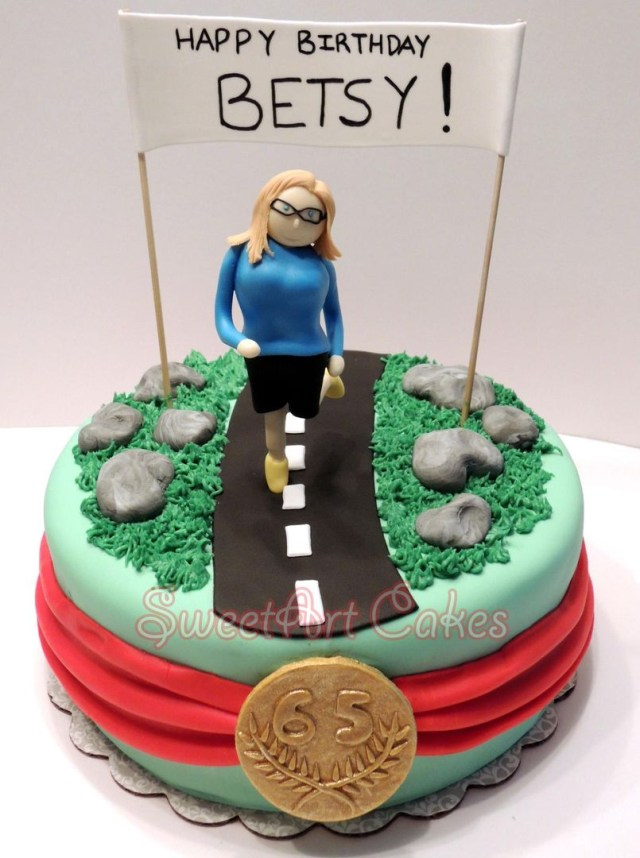 Runner Birthday Cake 65th Birthday Cake For A Marathon Runner Custom Birthday Cakes
