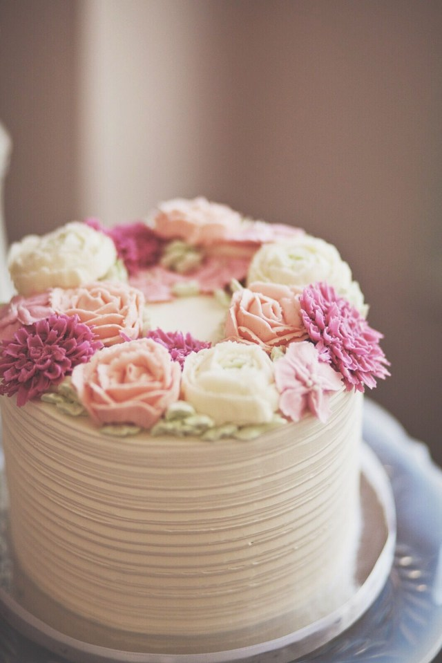 Small Birthday Cakes Rustic Buttercream Cake With Soft Pink And Cream Rose Flowers