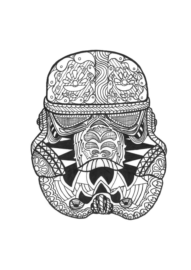 Stormtrooper Coloring Page Zen Stormtrooper Anti Stress Adult Coloring Pages