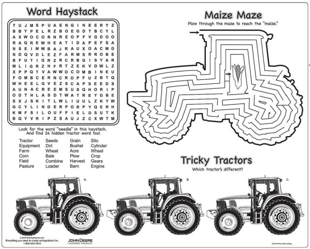 Tractor Coloring Pages John Deere Tractor Coloring Pages S Placemats For Kids Get