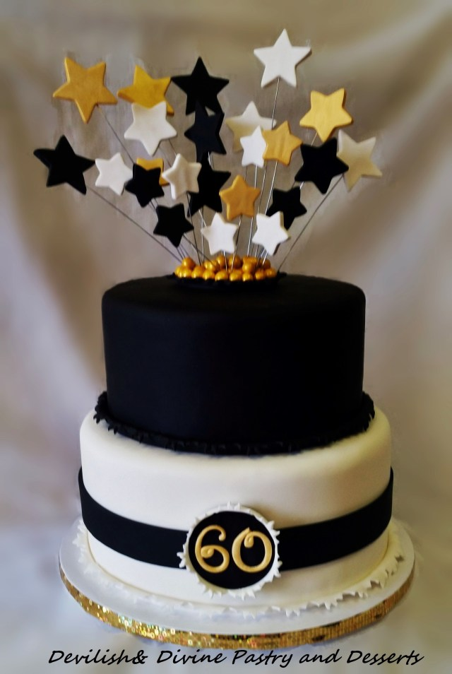 White And Gold Birthday Cake Black White And Gold 60th Birthday Cake Fondanttaarten Pinterest