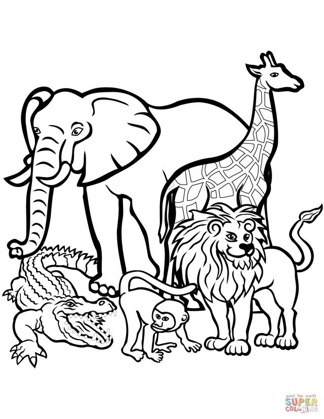 Zoo Animals Coloring Pages Coloring Page Animals Starkhouseofstraussco