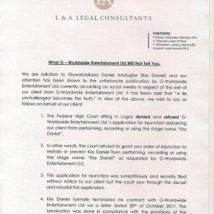 Davido Encourages Kiss Daniel As His Lawyers Responds To G-worldwide