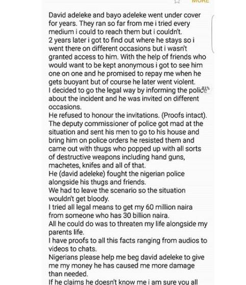 [Gbagawun] Davido owe man N60M & threatens to kill him