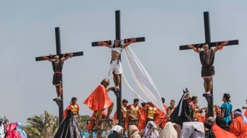 Passion play enacted in a real form by Philippines