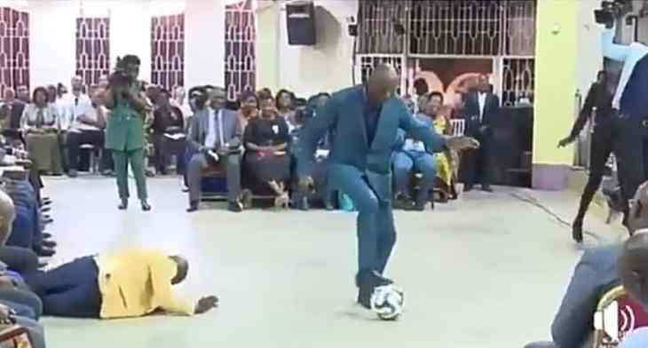 [VIDEO] Pastor performs deliverance on church members using football