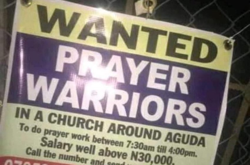 A Lagos Church puts up a vacancy in search of Prayer Warriors (PHOTO)