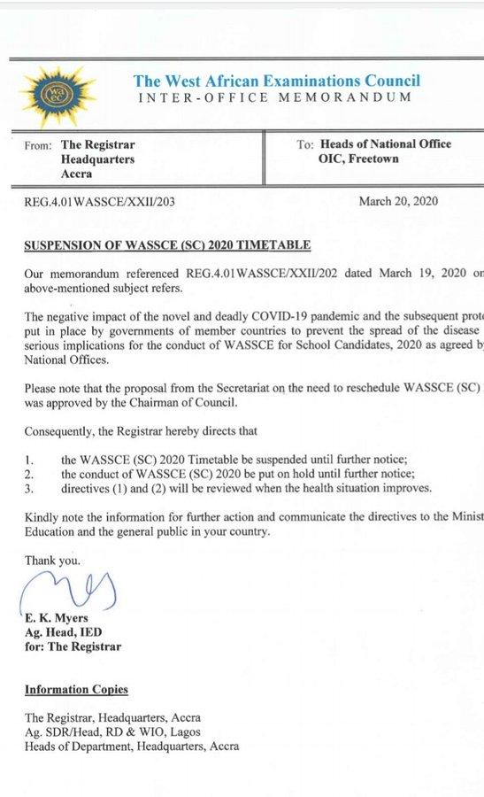 WAEC suspends WASSCE till further notice