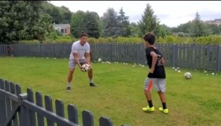 Like father like son – Ronaldo football training with son