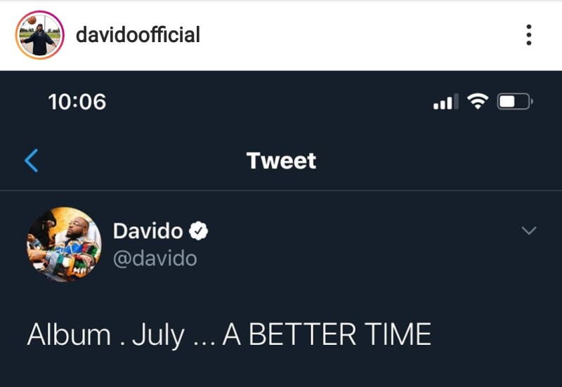 "Davido announce New album to be released on July ""A better time"""