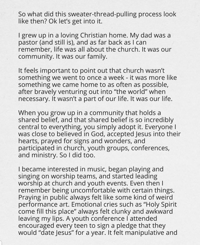 Gospel singer no longer believe in God