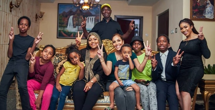 Ned Nwoko shows off Regina Daniel with his other Wives and Children