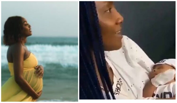 Adorable moment Simi fondled her baby girl, Adejare; this is the real Duduke (Video)