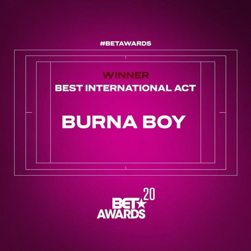 #BETAwards : Burna Boy wins