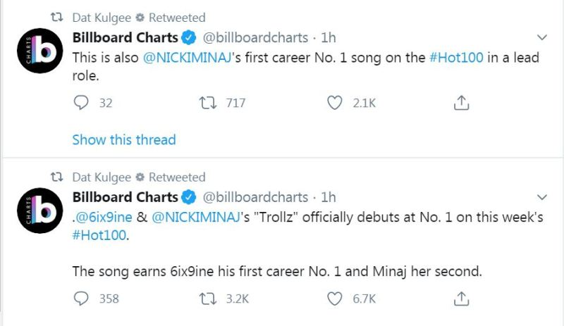6ix9ine earns Nicki Minaj Billboard Chart