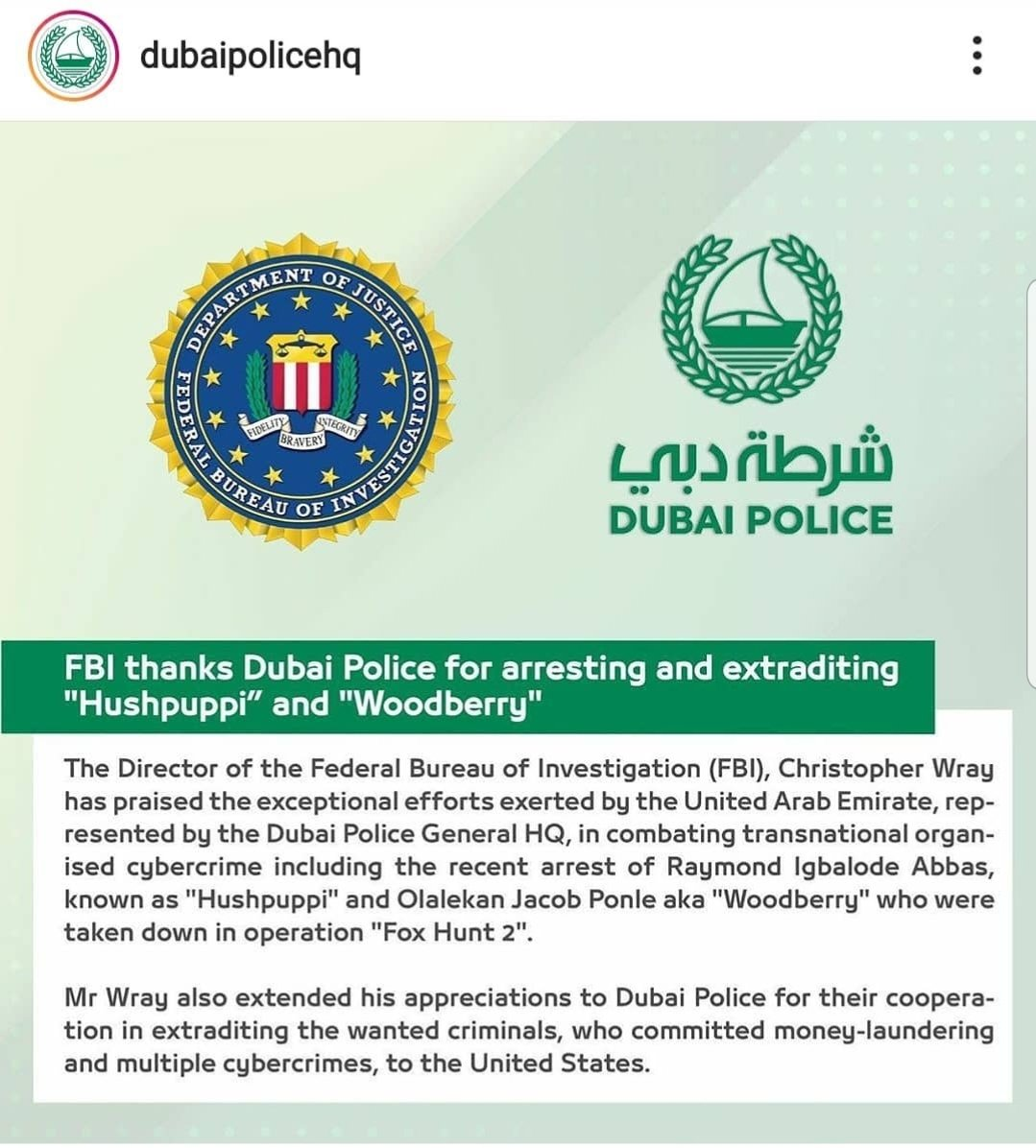 Dubai police hand over Hushpuppi and Woodberry to FBI