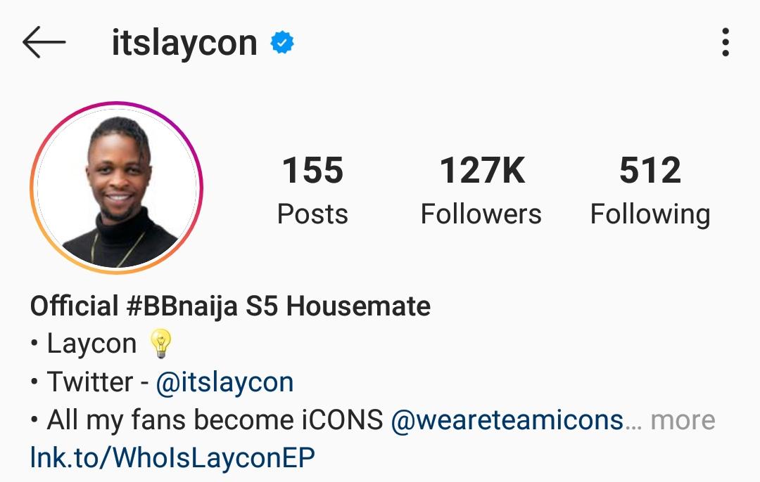 Laycon verified on Instagram