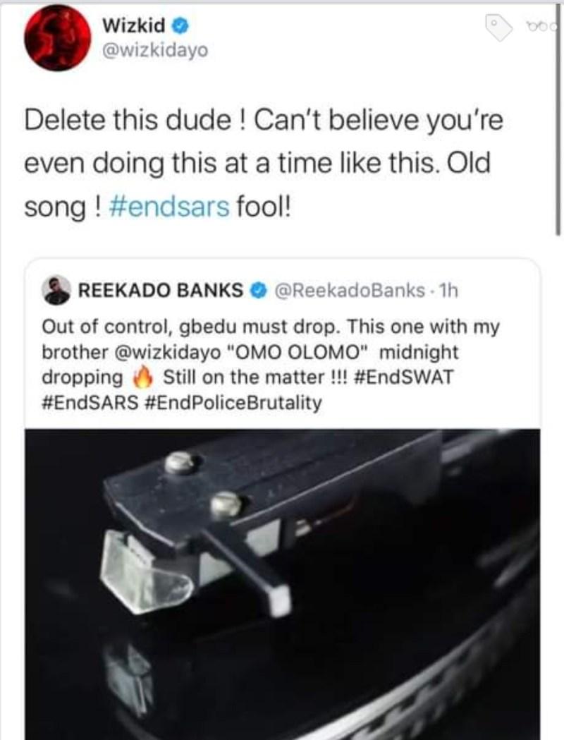 Wizkid blast Reekado Banks