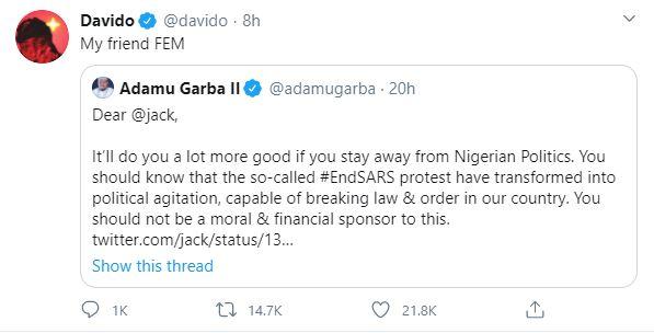 Davido Former Presidential candidate Fem