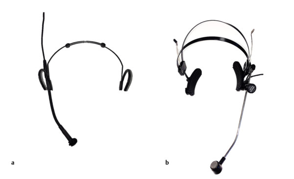 Examples of (a) a condenser headset microphone (AKG C-520) and (b) a dynamic headset microphone (Shure SM10A).