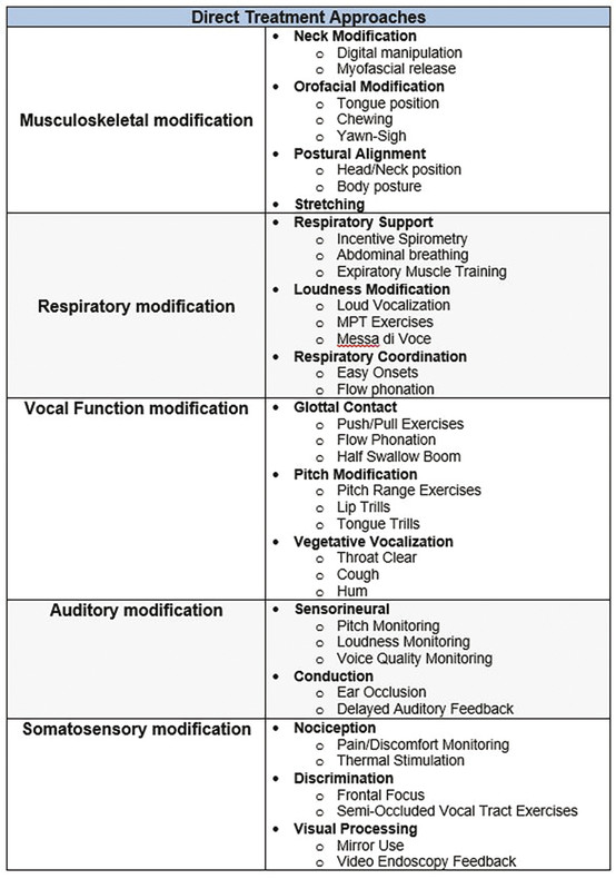 The second-order level more thoroughly organizes treatments into the domains of modification for the direct intervention category. Each treatment is administered by focusing the patient's attention to