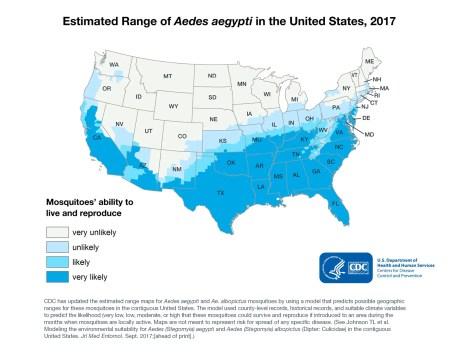 Aedes aegypti estimated range - CDC