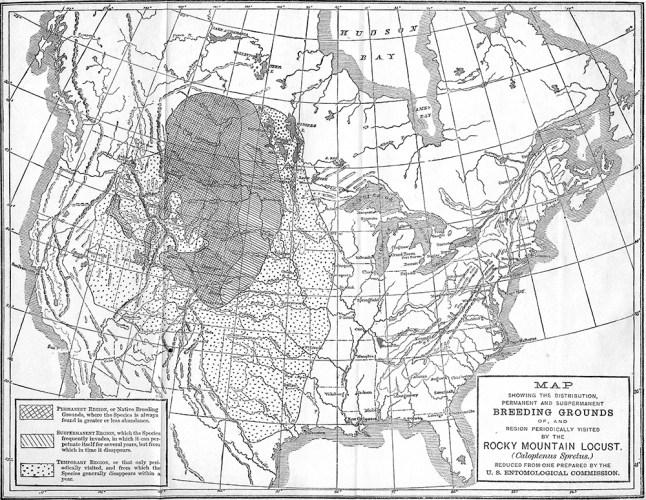 Rocky Mountain locust historic range map