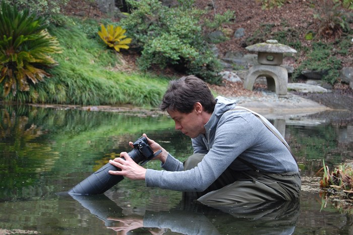 Josh Cassidy filming in pond