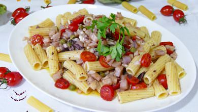 Photo of Ensalada de Pasta con Berenjena y Tomate Cherry