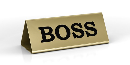 Boss identification plate with engraving
