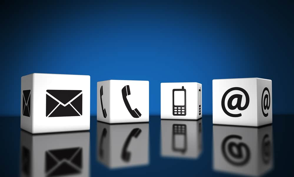 Icons for contact via email, phone, or mobile