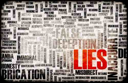 Image of a collage of words such as Fabrication, Deception, Inaccurate, Misdirect. The word LIES is highlighted in red.