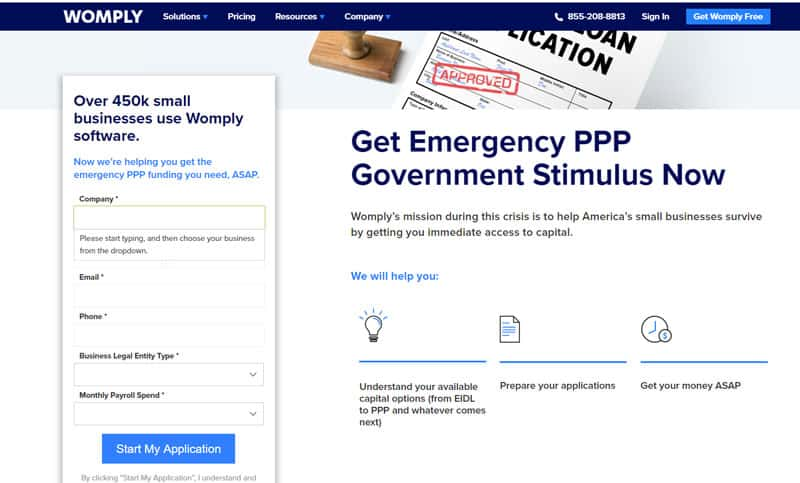 Screenshot of the home page where you start the PPP Loan Application process with Womply