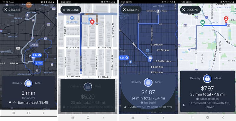 The evolution of the Uber Eats offer screen: Four screenshots of offers, each showing better information than the last.