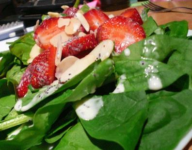 Ensalada de fresas y espinacas