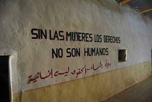 Mensaje a favor de los derechos de la mujer en los campamentos saharauis de Tinduf. / A. Villén