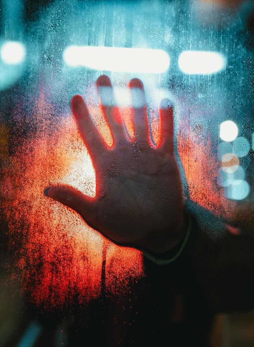 hand touching glass