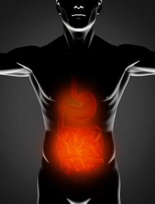 Black man with red stomach and small intestine highlighted on black background