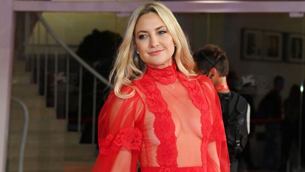 Kate Hudson Gets Glam In Red Gown As She Poses With A Cute Dog At The Venice Film Festival