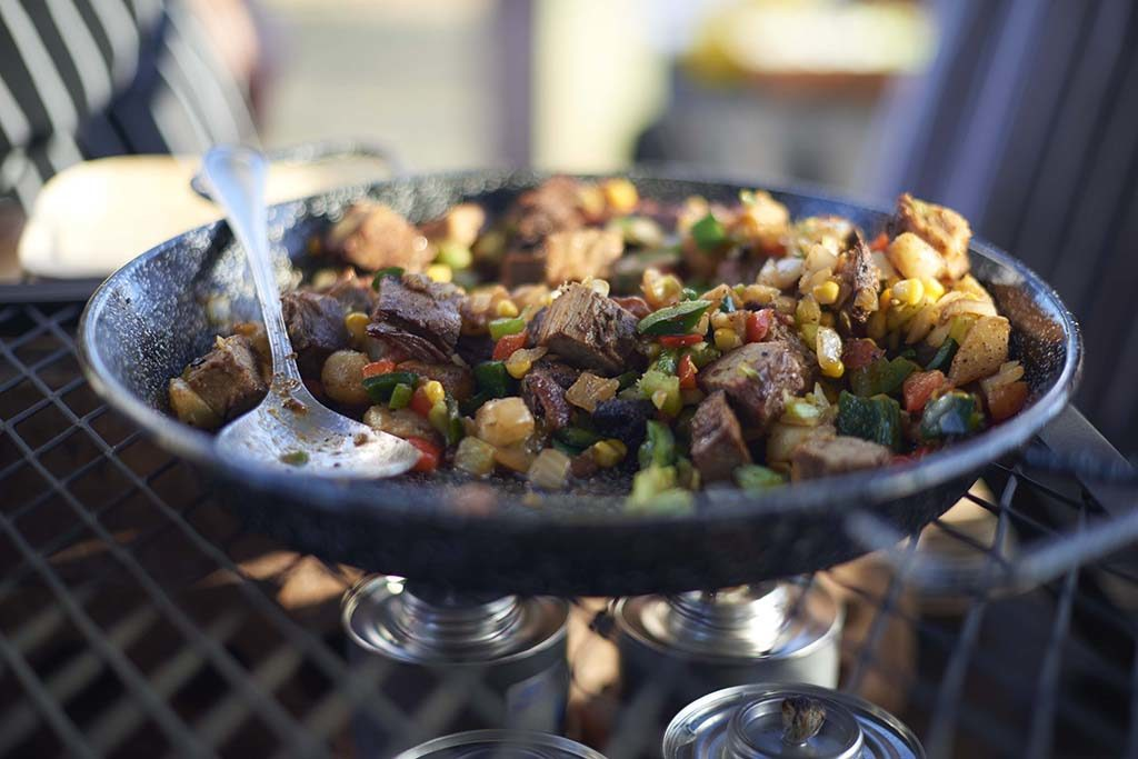 beef and corn hash in skillet