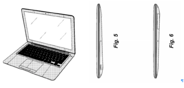 Apple's U.S. Patent D625,717 focuses on the metallic color, black  keys, and clam-shell shape of the MacBook Air.
