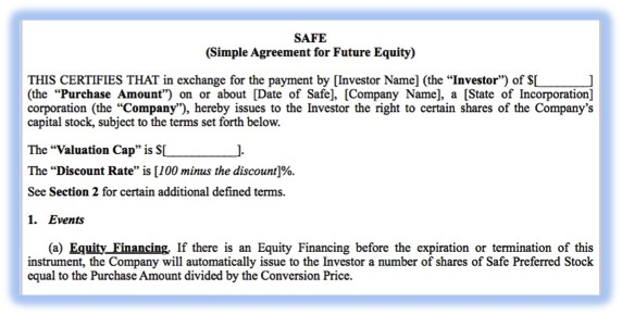 YCombinator's SAFE documents are a popular mechanism for implementing a convertible equity financing arrangement.