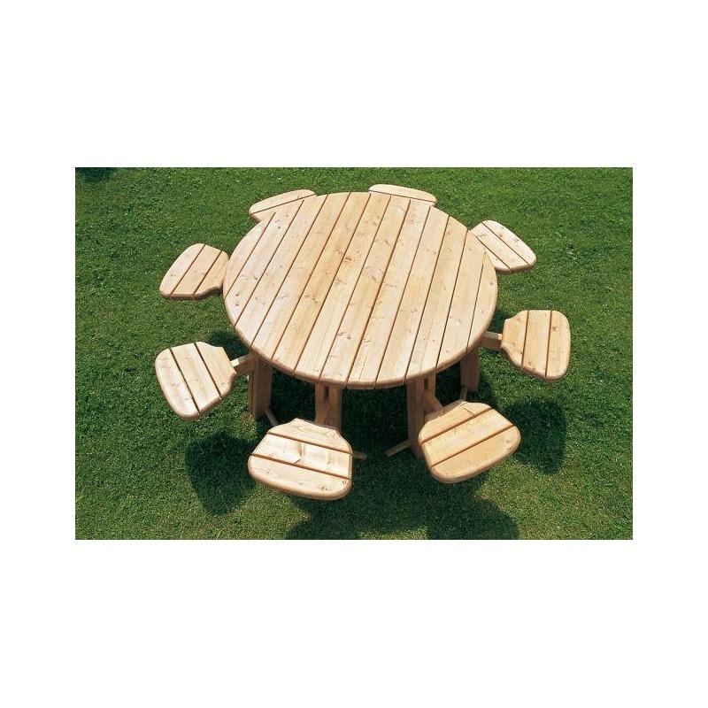 table pique nique ronde 8 places