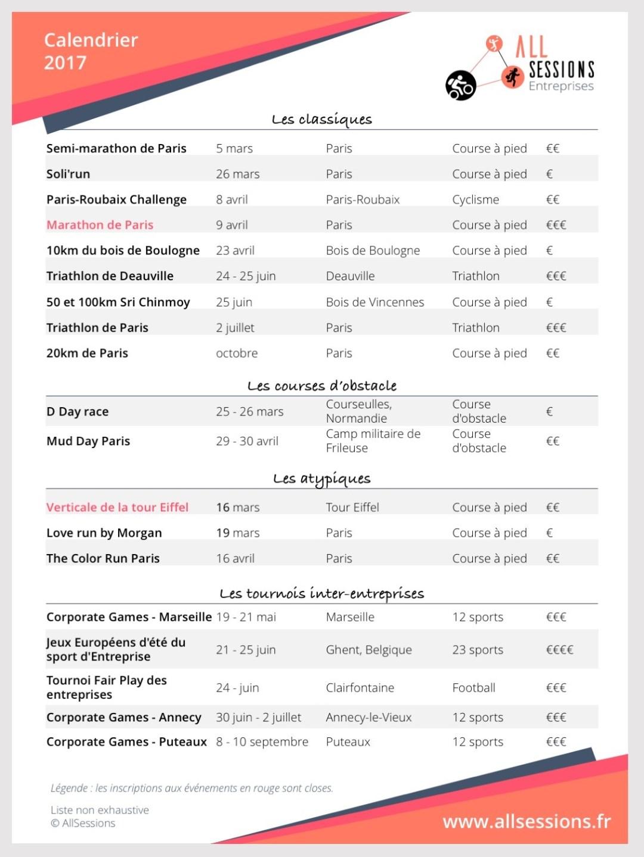 Calendrier des événements sportifs pour entreprises 2017