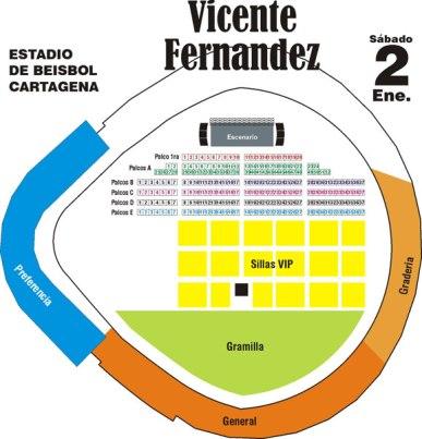 Ubicaciones, Vicente Fernández en Cartagena