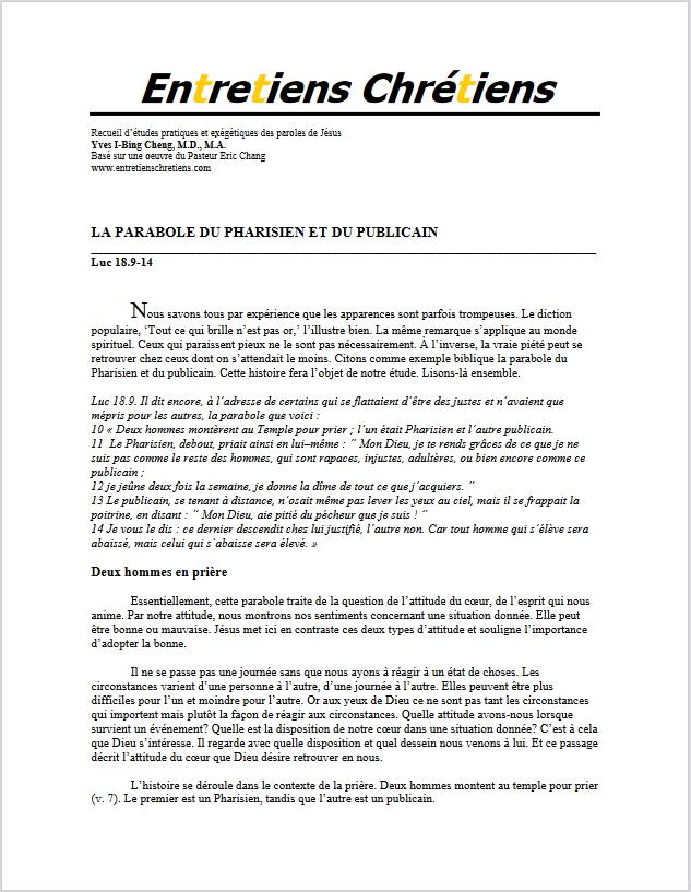 Recueil 126 - La parabole du Pharisien et du publicain
