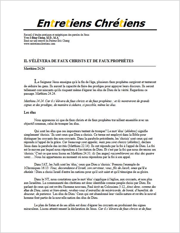 Recueil 145 - Il s'élèvera de faux christs et de faux prophètes