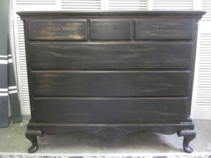 black stained distressed dresser