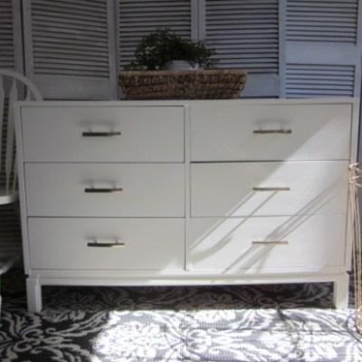 Modern White Dresser With Champagne Bronze